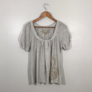Anthropologie Deletta gold & gray embroidered tee